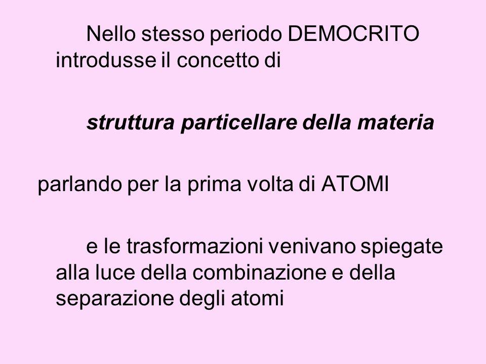 Nello stesso periodo DEMOCRITO introdusse il concetto di struttura particellare della materia parlando per la prima volta di ATOMI e le trasformazioni venivano spiegate alla luce della combinazione e della separazione degli atomi