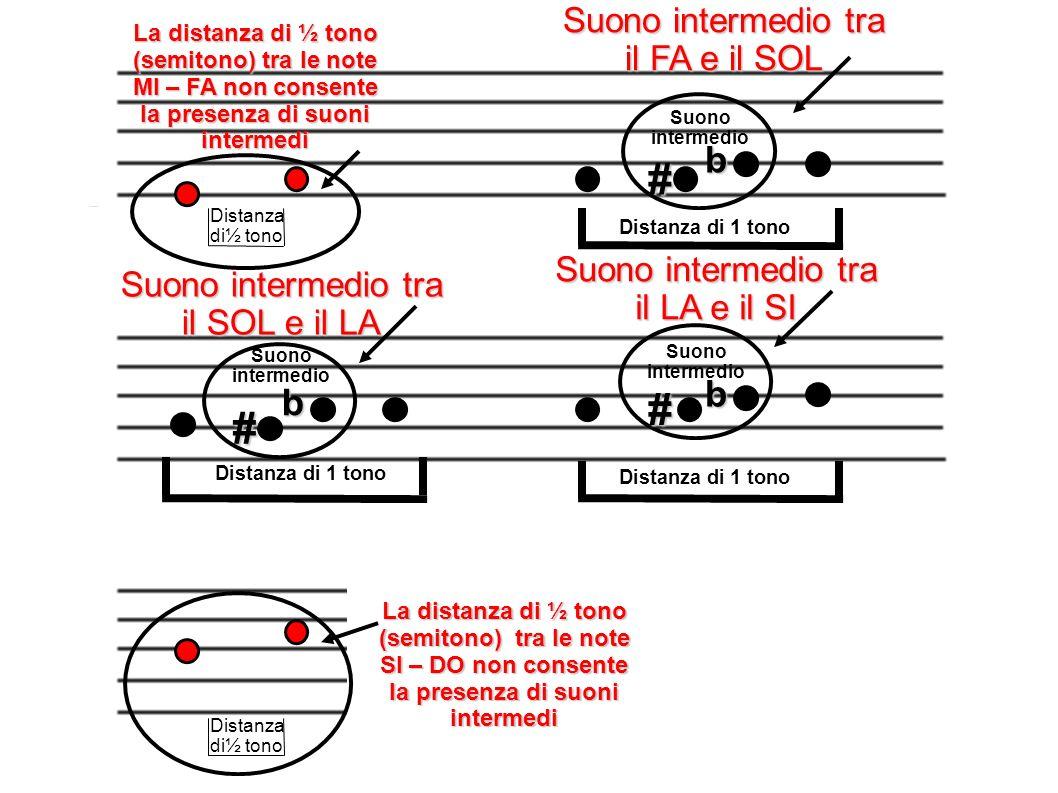 La distanza di ½ tono (semitono) tra le note MI – FA non consente la presenza di suoni intermedi Distanza di½ tono # b Suono intermedio Distanza di 1