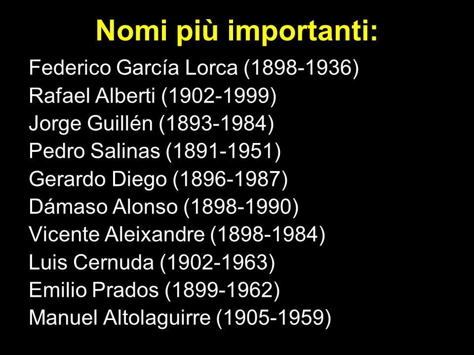 Nomi più importanti: Federico García Lorca (1898-1936) Rafael Alberti (1902-1999) Jorge Guillén (1893-1984) Pedro Salinas (1891-1951) Gerardo Diego (1896-1987) Dámaso Alonso (1898-1990) Vicente Aleixandre (1898-1984) Luis Cernuda (1902-1963) Emilio Prados (1899-1962) Manuel Altolaguirre (1905-1959)