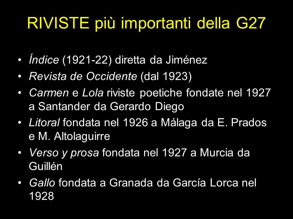 RIVISTE più importanti della G27 Índice (1921-22) diretta da Jiménez Revista de Occidente (dal 1923) Carmen e Lola riviste poetiche fondate nel 1927 a Santander da Gerardo Diego Litoral fondata nel 1926 a Málaga da E.