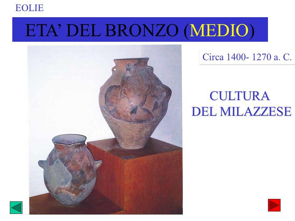 CULTURA DEL MILAZZESE DEL MILAZZESE ETA DEL BRONZO (MEDIO) Circa 1400- 1270 a. C. EOLIE