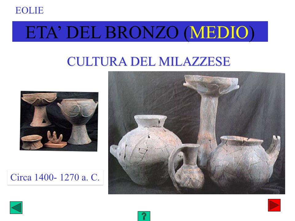 CULTURA DEL MILAZZESE ETA DEL BRONZO (MEDIO) Circa 1400- 1270 a. C. EOLIE