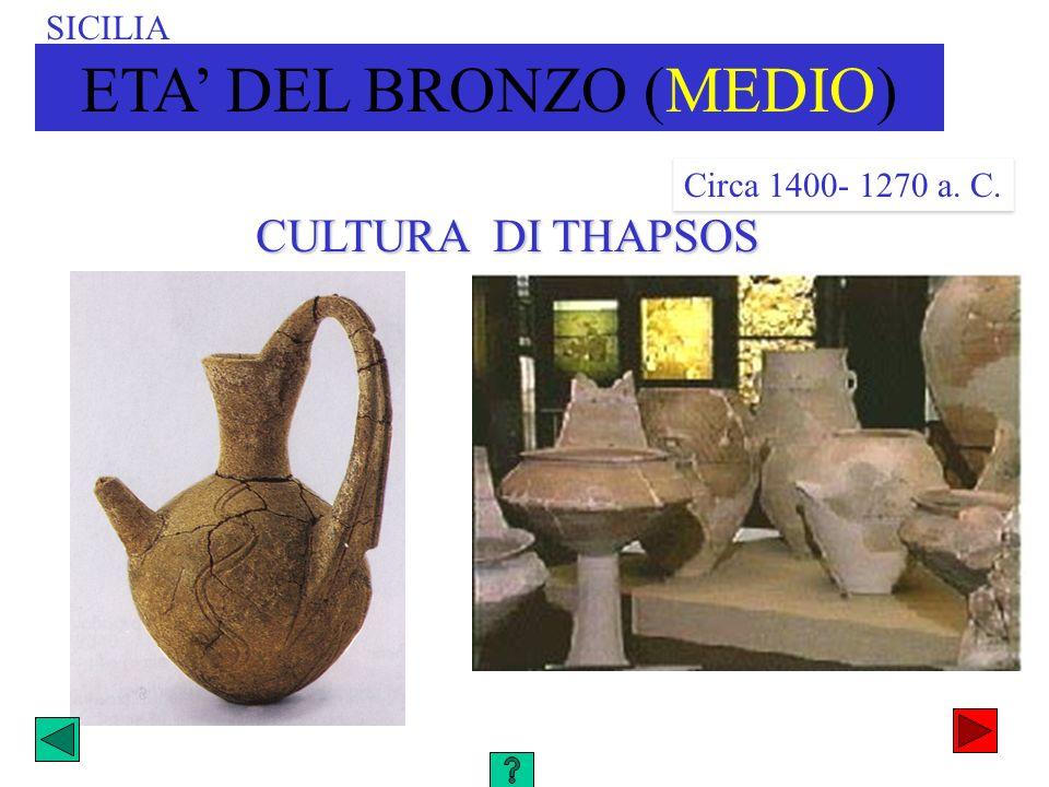CULTURA DI THAPSOS SICILIA ETA DEL BRONZO (MEDIO) Circa 1400- 1270 a. C.