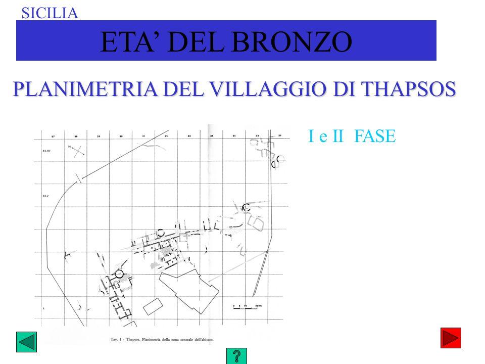 PLANIMETRIA DEL VILLAGGIO DI THAPSOS I e II FASE SICILIA ETA DEL BRONZO