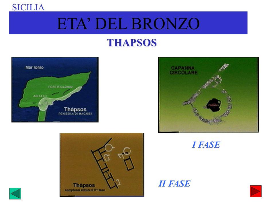 THAPSOS I FASE II FASE SICILIA ETA DEL BRONZO