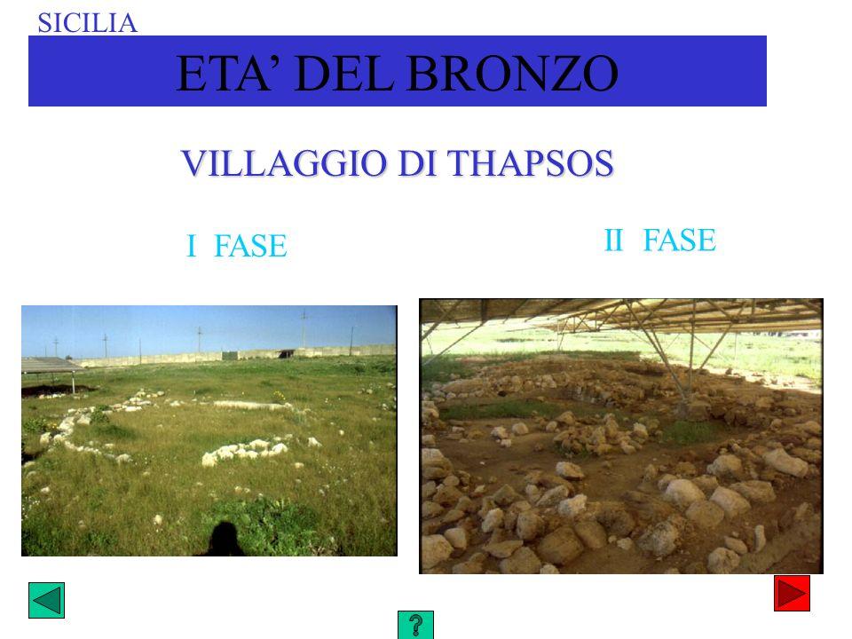 VILLAGGIO DI THAPSOS II FASE I FASE SICILIA ETA DEL BRONZO
