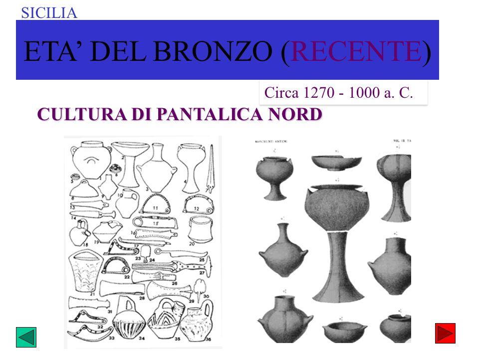 CULTURA DI PANTALICA NORD Circa 1270 - 1000 a. C. SICILIA ETA DEL BRONZO (RECENTE)
