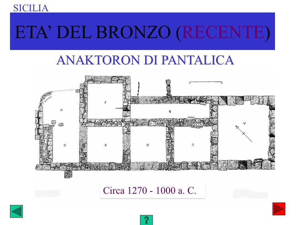 ANAKTORON DI PANTALICA Circa 1270 - 1000 a. C. SICILIA ETA DEL BRONZO (RECENTE)