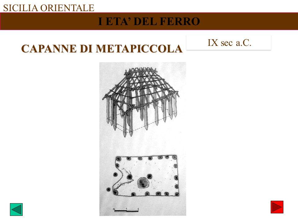 SICILIA ORIENTALE I ETA DEL FERRO IX sec a.C. CAPANNE DI METAPICCOLA