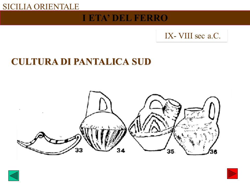SICILIA ORIENTALE I ETA DEL FERRO IX- VIII sec a.C. CULTURA DI PANTALICA SUD