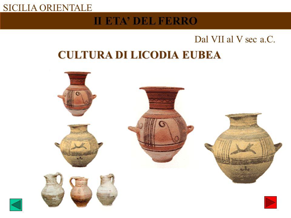 SICILIA ORIENTALE II ETA DEL FERRO Dal VII al V sec a.C. CULTURA DI LICODIA EUBEA