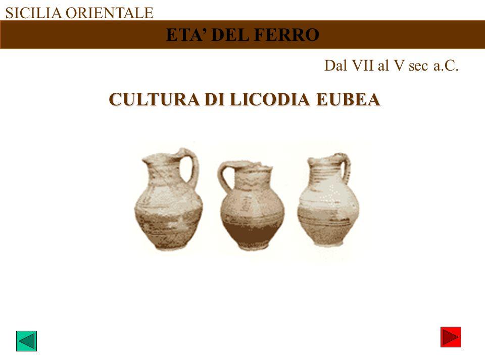 SICILIA ORIENTALE ETA DEL FERRO Dal VII al V sec a.C. CULTURA DI LICODIA EUBEA