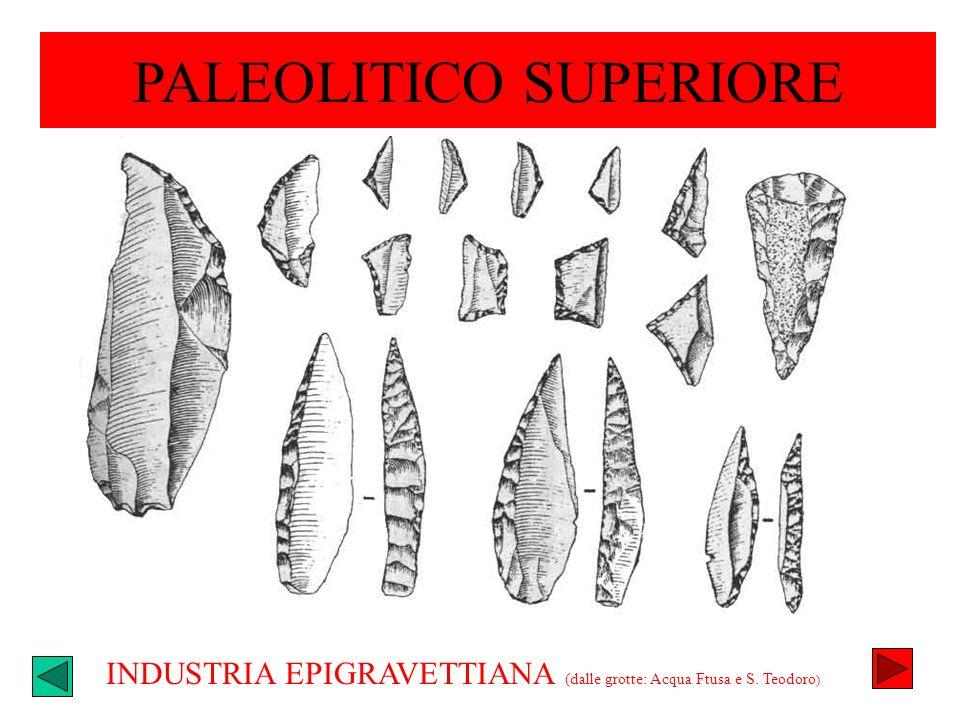 INDUSTRIA EPIGRAVETTIANA (dalle grotte: Acqua Ftusa e S. Teodoro ) PALEOLITICO SUPERIORE