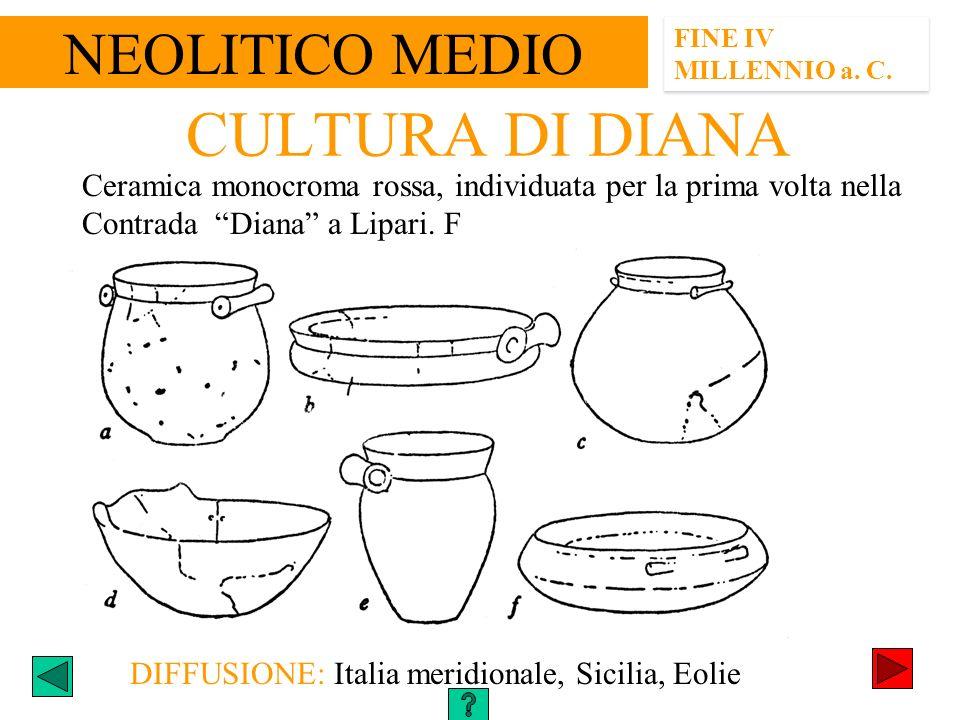 FINE IV MILLENNIO a. C. CULTURA DI DIANA DIFFUSIONE: Italia meridionale, Sicilia, Eolie Ceramica monocroma rossa, individuata per la prima volta nella