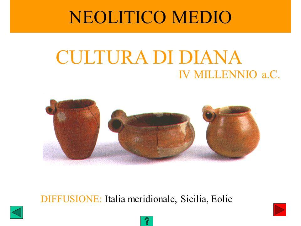 DIFFUSIONE: Italia meridionale, Sicilia, Eolie NEOLITICO MEDIO CULTURA DI DIANA IV MILLENNIO a.C.