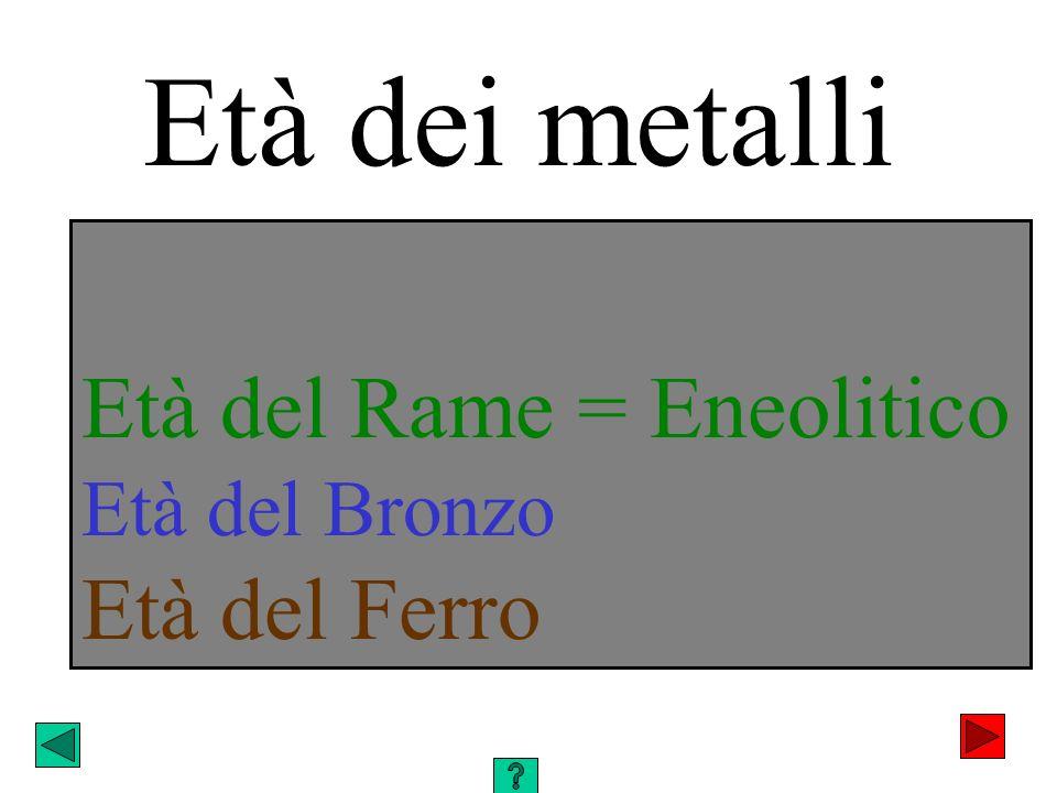 Età del Rame = Eneolitico Età del Bronzo Età del Ferro Età dei metalli