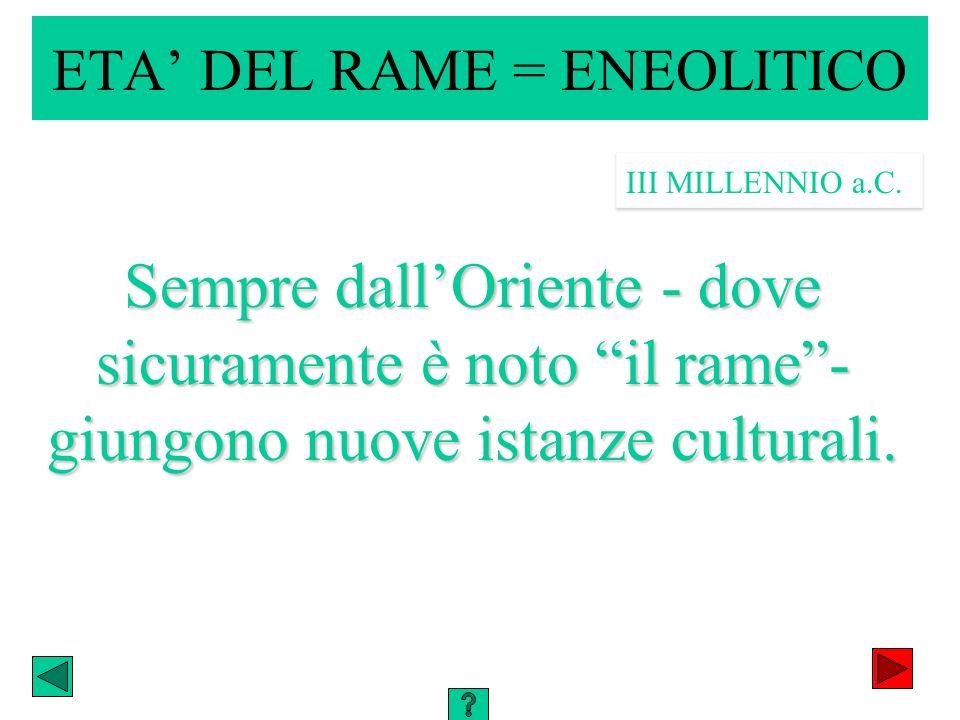 ETA DEL RAME = ENEOLITICO Sempre dallOriente - dove sicuramente è noto il rame- giungono nuove istanze culturali. III MILLENNIO a.C.