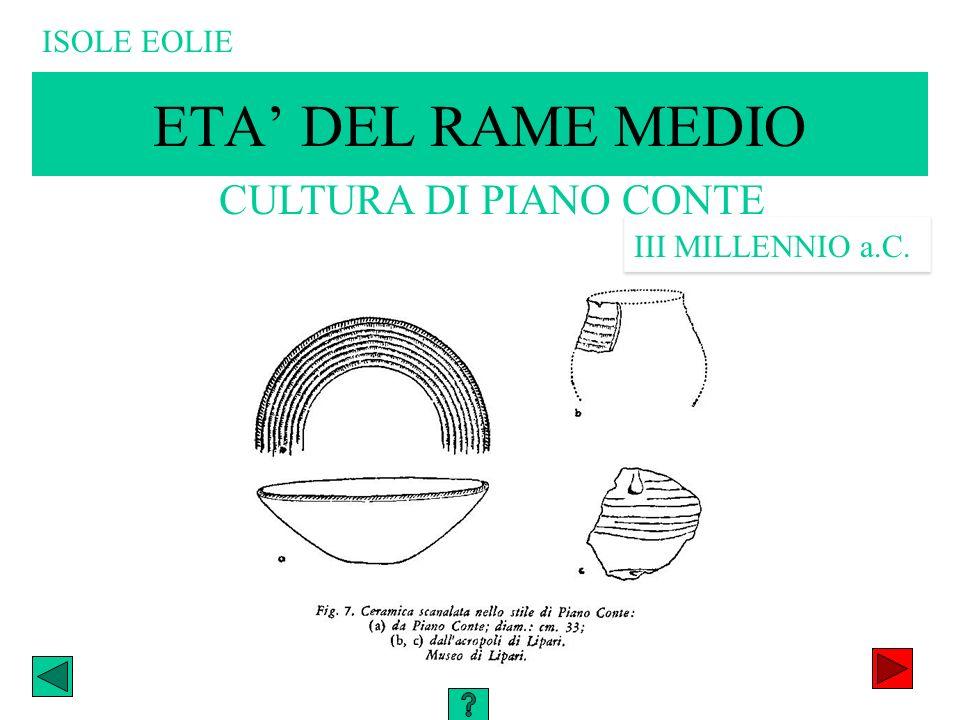 ETA DEL RAME MEDIO CULTURA DI PIANO CONTE III MILLENNIO a.C. ISOLE EOLIE