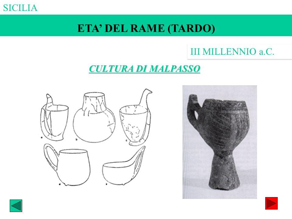 ETA DEL RAME (MEDIO?) ETA DEL RAME (TARDO) CULTURA DI MALPASSO III MILLENNIO a.C.