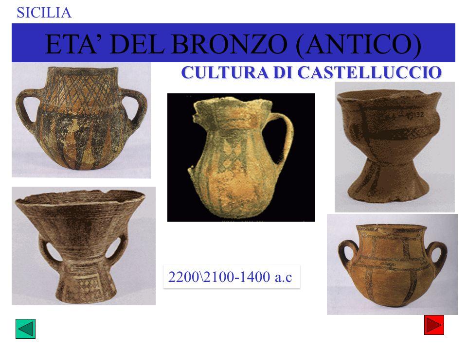 SICILIA CULTURA DI CASTELLUCCIO 2200\2100-1400 a.c ETA DEL BRONZO (ANTICO)