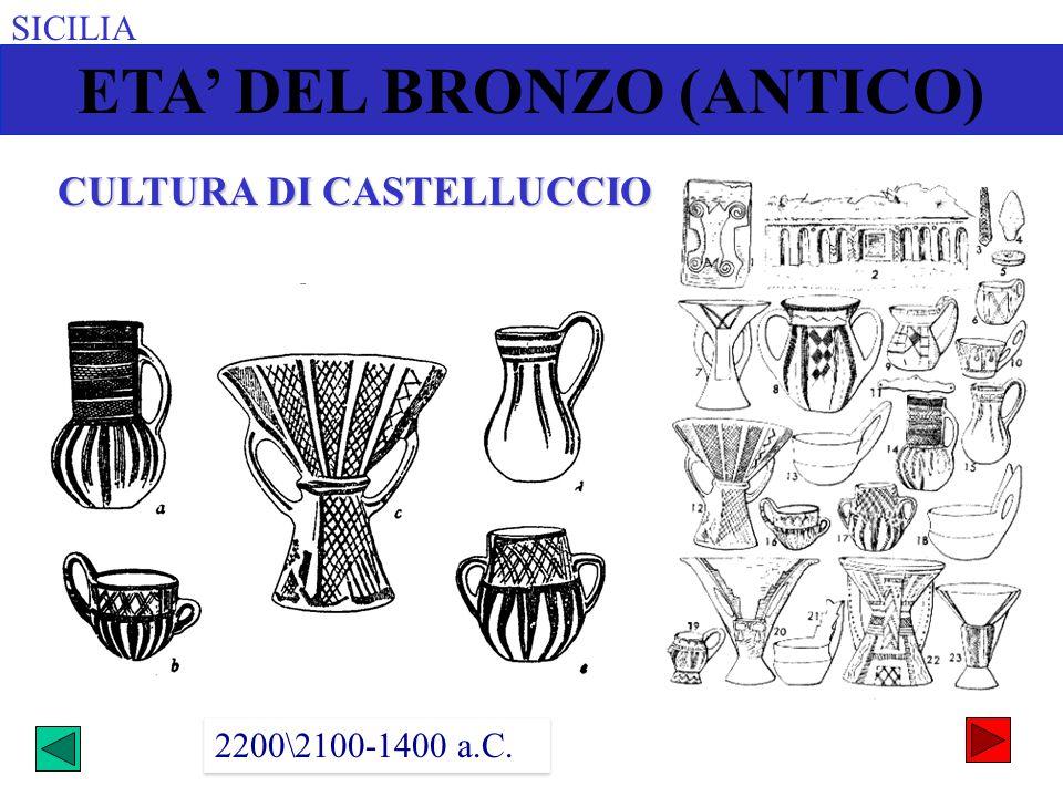 SICILIA ETA DEL BRONZO (ANTICO) 2200\2100-1400 a.C. CULTURA DI CASTELLUCCIO