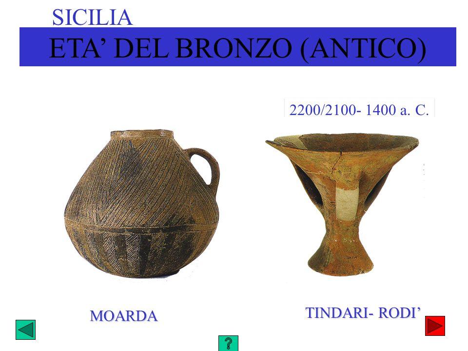 ETA DEL BRONZO (ANTICO) SICILIA 2200/2100- 1400 a. C. MOARDA TINDARI- RODI