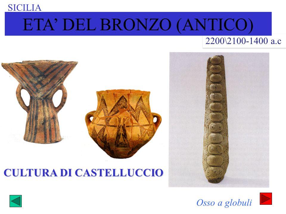 SICILIA CULTURA DI CASTELLUCCIO 2200\2100-1400 a.c Osso a globuli ETA DEL BRONZO (ANTICO)