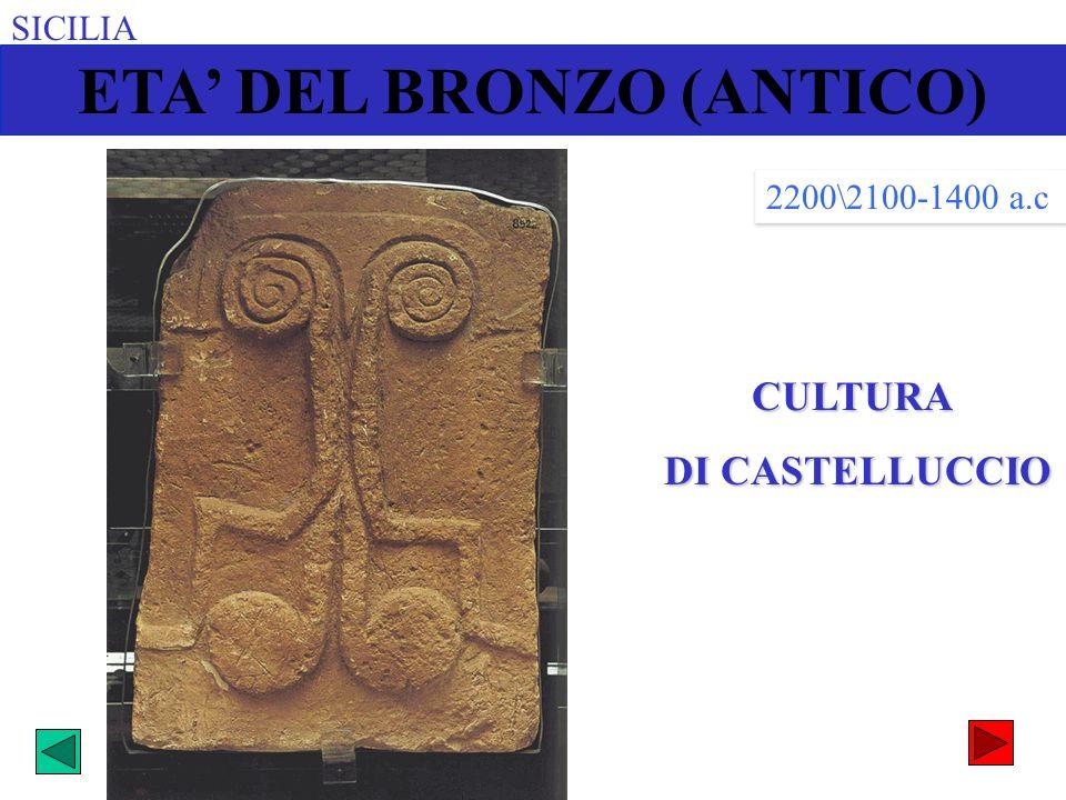 SICILIACULTURA DI CASTELLUCCIO DI CASTELLUCCIO 2200\2100-1400 a.c ETA DEL BRONZO (ANTICO)