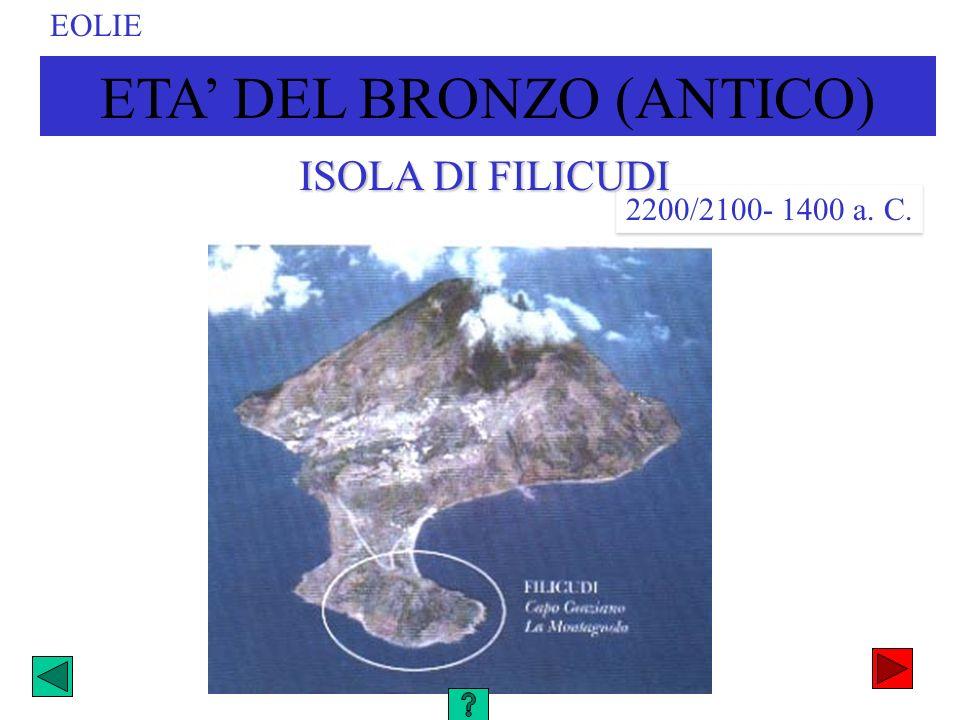 ETA DEL BRONZO (ANTICO) EOLIE 2200/2100- 1400 a. C. ISOLA DI FILICUDI