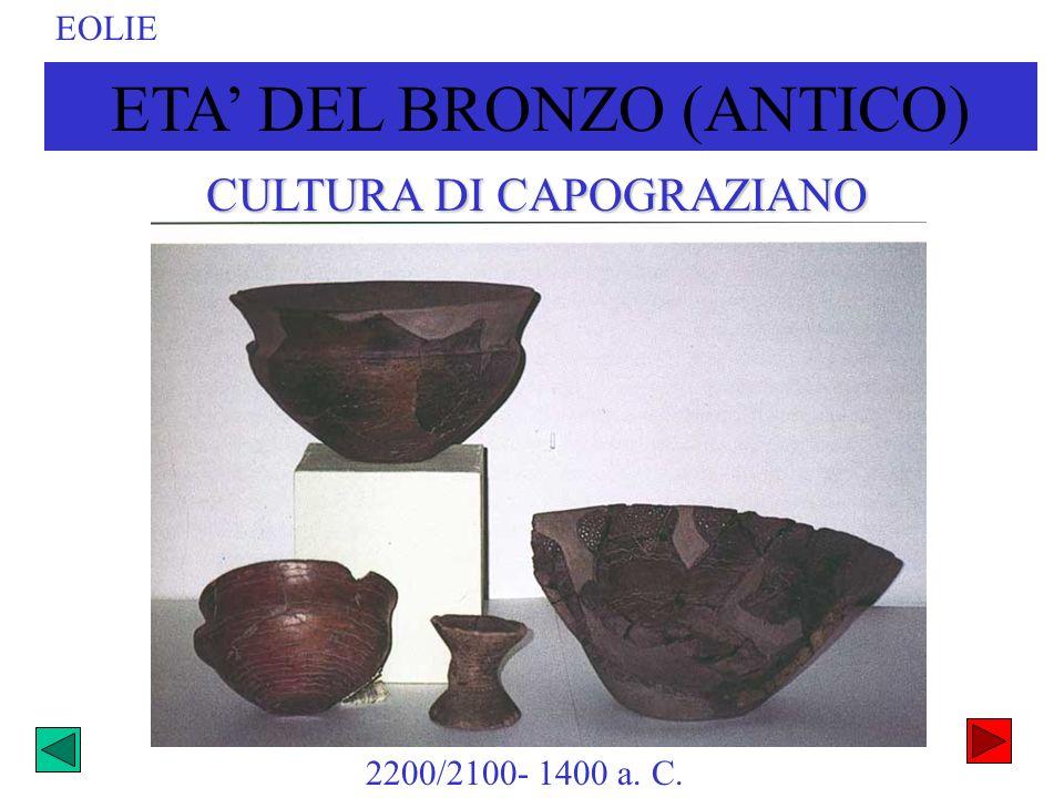 ETA DEL BRONZO (ANTICO) EOLIE 2200/2100- 1400 a. C. CULTURA DI CAPOGRAZIANO