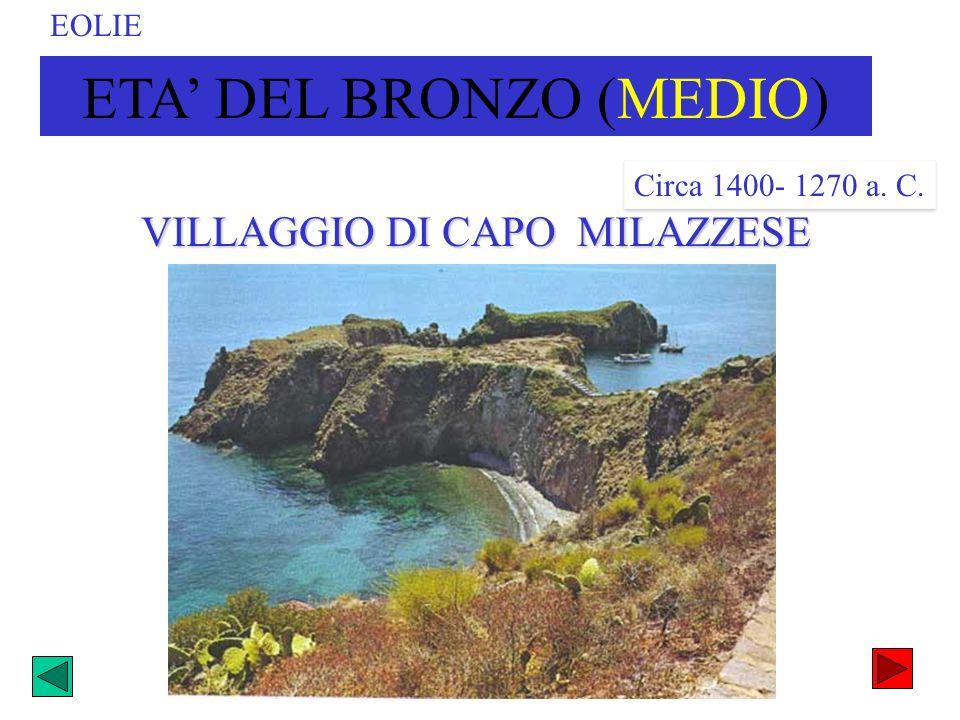 ETA DEL BRONZO (MEDIO) Circa 1400- 1270 a. C. VILLAGGIO DI CAPO MILAZZESE EOLIE