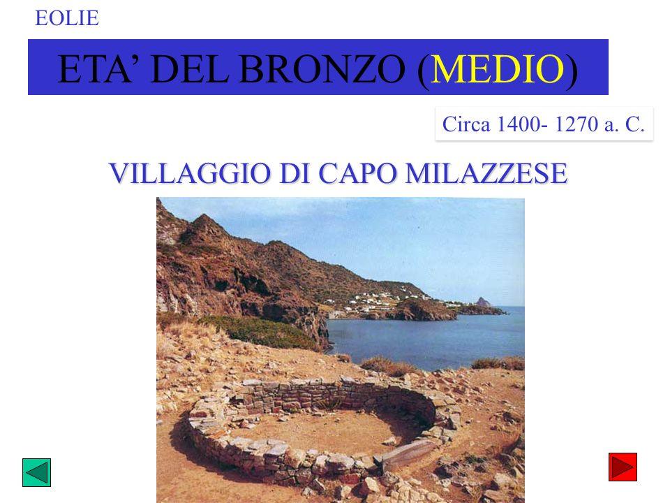 VILLAGGIO DI CAPO MILAZZESE ETA DEL BRONZO (MEDIO) Circa 1400- 1270 a. C. EOLIE
