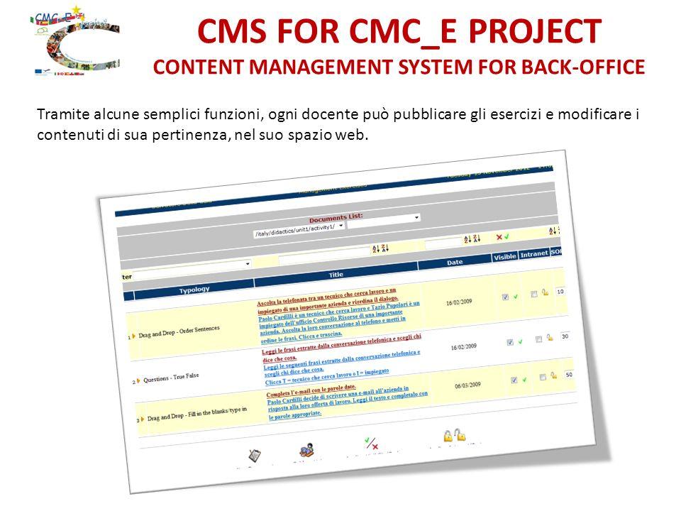 CMS FOR CMC_E PROJECT CONTENT MANAGEMENT SYSTEM FOR BACK-OFFICE Tramite alcune semplici funzioni, ogni docente può pubblicare gli esercizi e modificare i contenuti di sua pertinenza, nel suo spazio web.
