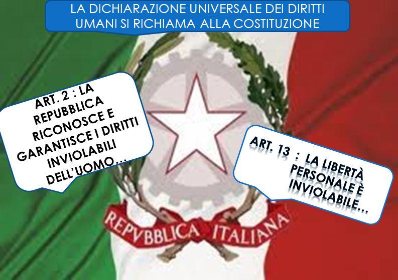 LA DICHIARAZIONE UNIVERSALE DEI DIRITTI UMANI SI RICHIAMA ALLA COSTITUZIONE ART. 2 : LA REPUBBLICA RICONOSCE E GARANTISCE I DIRITTI INVIOLABILI DELLUO