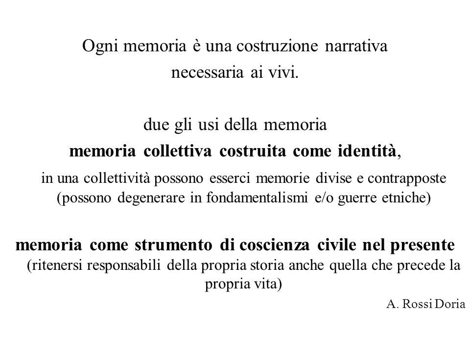 Ogni memoria è una costruzione narrativa necessaria ai vivi. due gli usi della memoria memoria collettiva costruita come identità, in una collettività