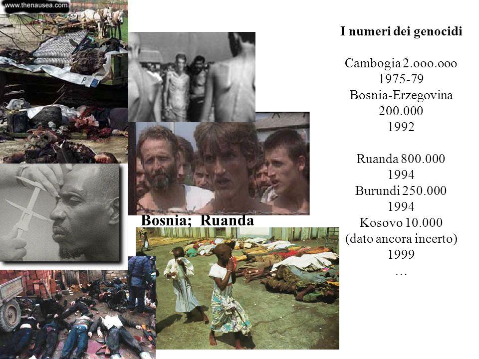 I numeri dei genocidi Cambogia 2.ooo.ooo 1975-79 Bosnia-Erzegovina 200.000 1992 Ruanda 800.000 1994 Burundi 250.000 1994 Kosovo 10.000 (dato ancora in