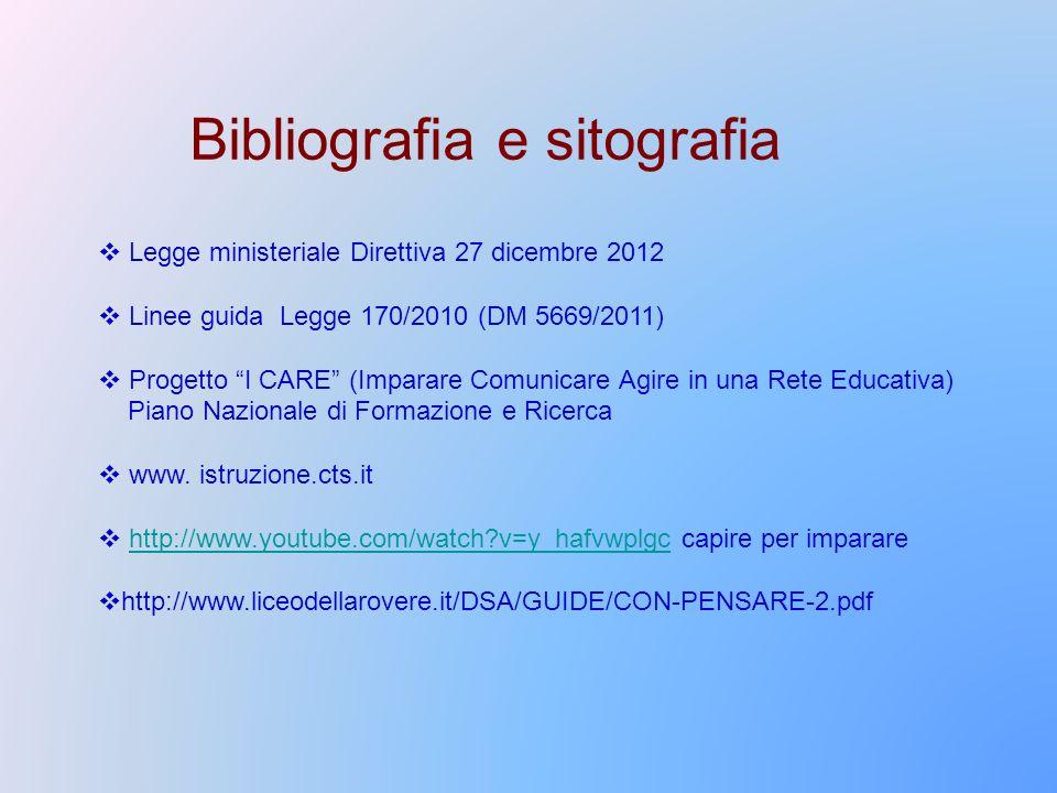 Bibliografia e sitografia Legge ministeriale Direttiva 27 dicembre 2012 Linee guida Legge 170/2010 (DM 5669/2011) Progetto I CARE (Imparare Comunicare