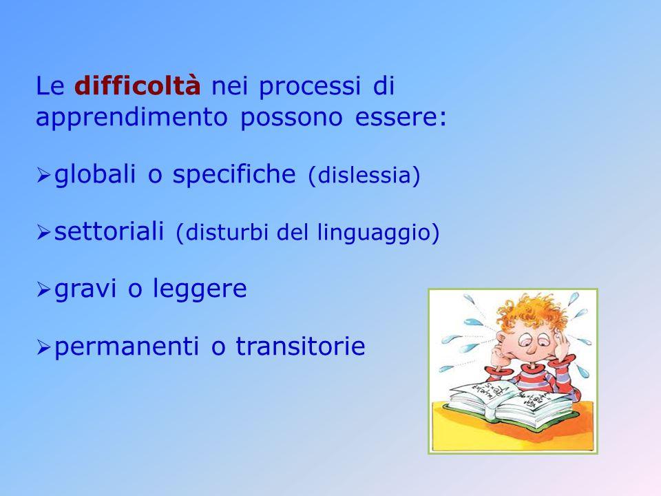Le difficoltà nei processi di apprendimento possono essere: globali o specifiche (dislessia) settoriali (disturbi del linguaggio) gravi o leggere permanenti o transitorie