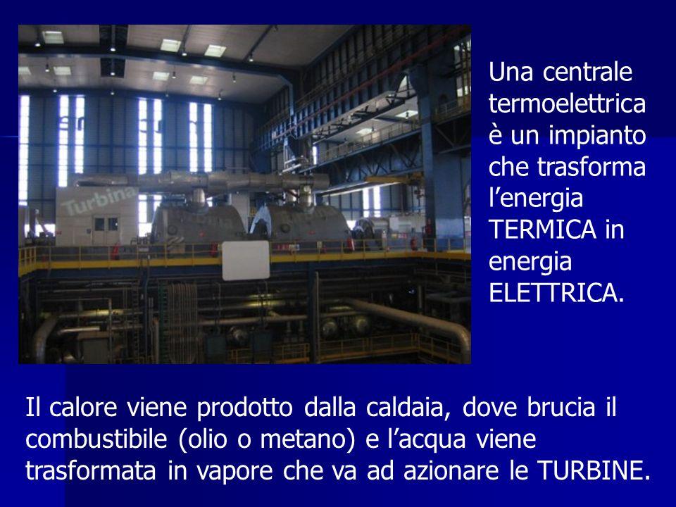 Una centrale termoelettrica è un impianto che trasforma lenergia TERMICA in energia ELETTRICA. Il calore viene prodotto dalla caldaia, dove brucia il