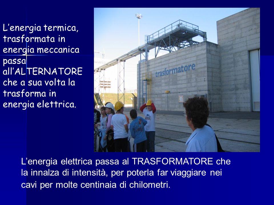 Lenergia termica, trasformata in energia meccanica passa allALTERNATORE che a sua volta la trasforma in energia elettrica. Lenergia elettrica passa al
