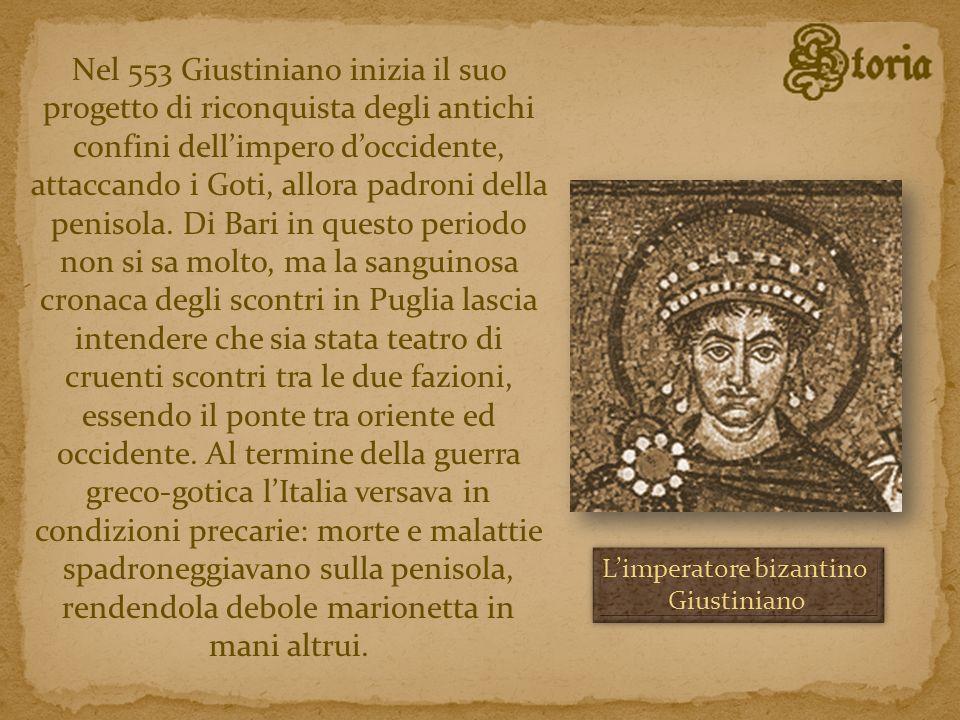 Nel 553 Giustiniano inizia il suo progetto di riconquista degli antichi confini dellimpero doccidente, attaccando i Goti, allora padroni della penisol