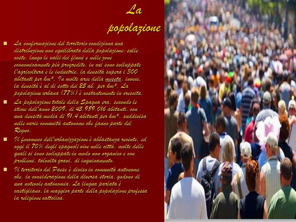 La popolazione La conformazione del territorio condiziona una distribuzione non equilibrata della popolazione: sulle coste, lungo le valli dei fiumi e