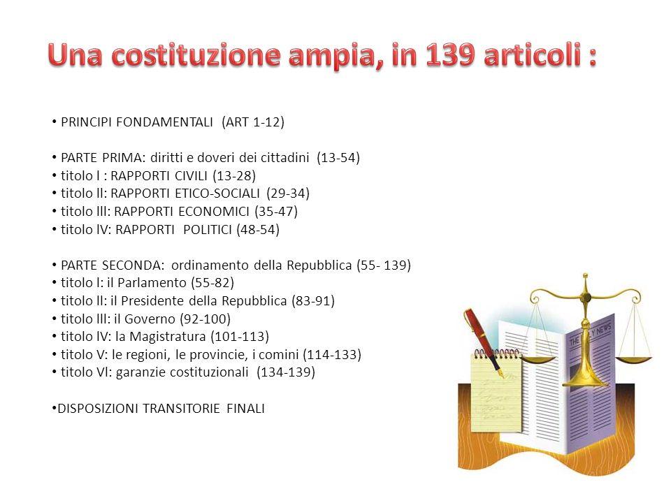 PRINCIPI FONDAMENTALI (ART 1-12) PARTE PRIMA: diritti e doveri dei cittadini (13-54) titolo l : RAPPORTI CIVILI (13-28) titolo ll: RAPPORTI ETICO-SOCIALI (29-34) titolo lll: RAPPORTI ECONOMICI (35-47) titolo lV: RAPPORTI POLITICI (48-54) PARTE SECONDA: ordinamento della Repubblica (55- 139) titolo l: il Parlamento (55-82) titolo ll: il Presidente della Repubblica (83-91) titolo lll: il Governo (92-100) titolo lV: la Magistratura (101-113) titolo V: le regioni, le provincie, i comini (114-133) titolo Vl: garanzie costituzionali (134-139) DISPOSIZIONI TRANSITORIE FINALI