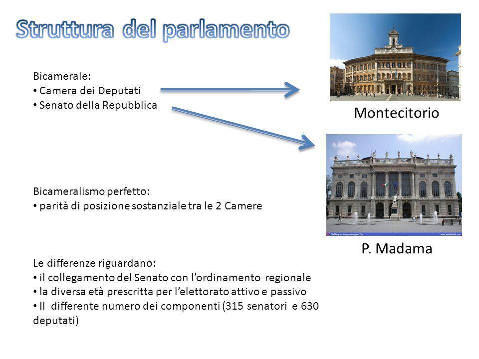 Montecitorio P. Madama Bicamerale: Camera dei Deputati Senato della Repubblica Bicameralismo perfetto: parità di posizione sostanziale tra le 2 Camere