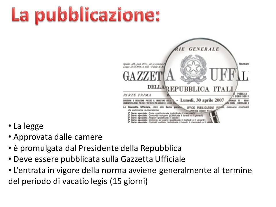 La legge Approvata dalle camere è promulgata dal Presidente della Repubblica Deve essere pubblicata sulla Gazzetta Ufficiale Lentrata in vigore della
