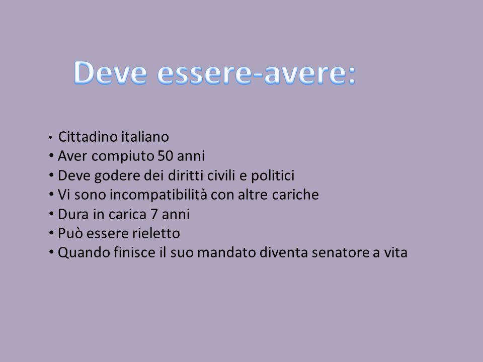 Cittadino italiano Aver compiuto 50 anni Deve godere dei diritti civili e politici Vi sono incompatibilità con altre cariche Dura in carica 7 anni Può