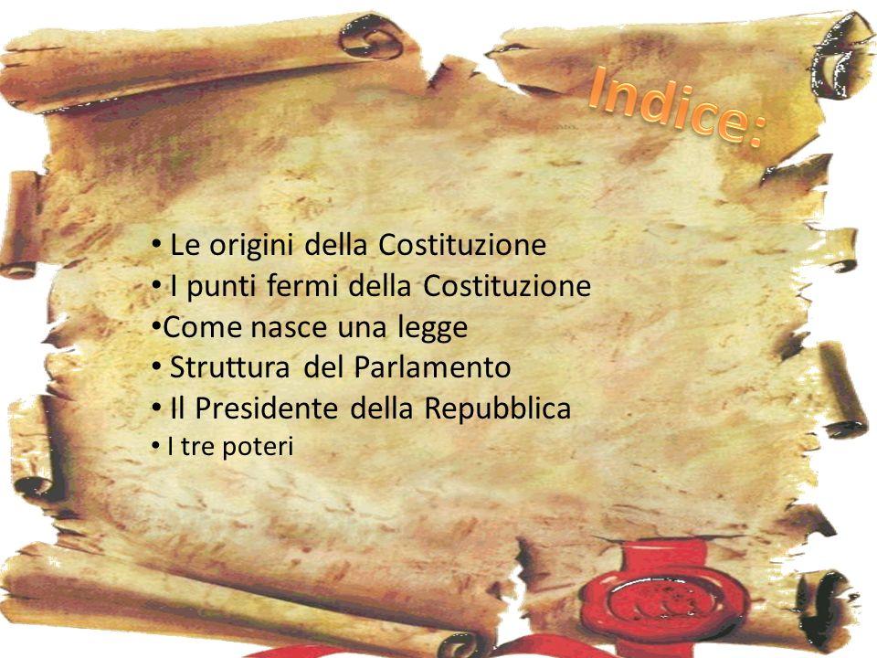 Le origini della Costituzione I punti fermi della Costituzione Come nasce una legge Struttura del Parlamento Il Presidente della Repubblica I tre poteri
