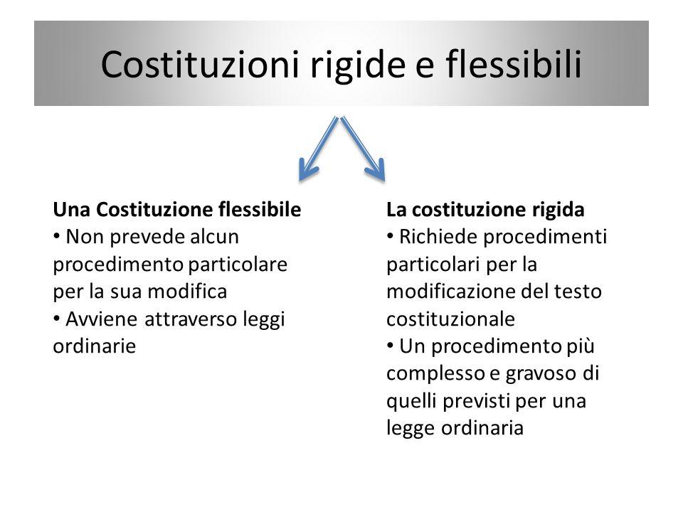 Costituzioni rigide e flessibili Una Costituzione flessibile Non prevede alcun procedimento particolare per la sua modifica Avviene attraverso leggi o
