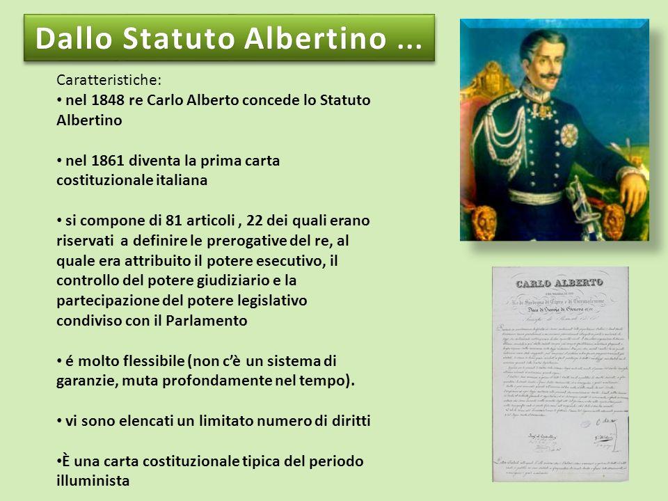 Caratteristiche: nel 1848 re Carlo Alberto concede lo Statuto Albertino nel 1861 diventa la prima carta costituzionale italiana si compone di 81 artic