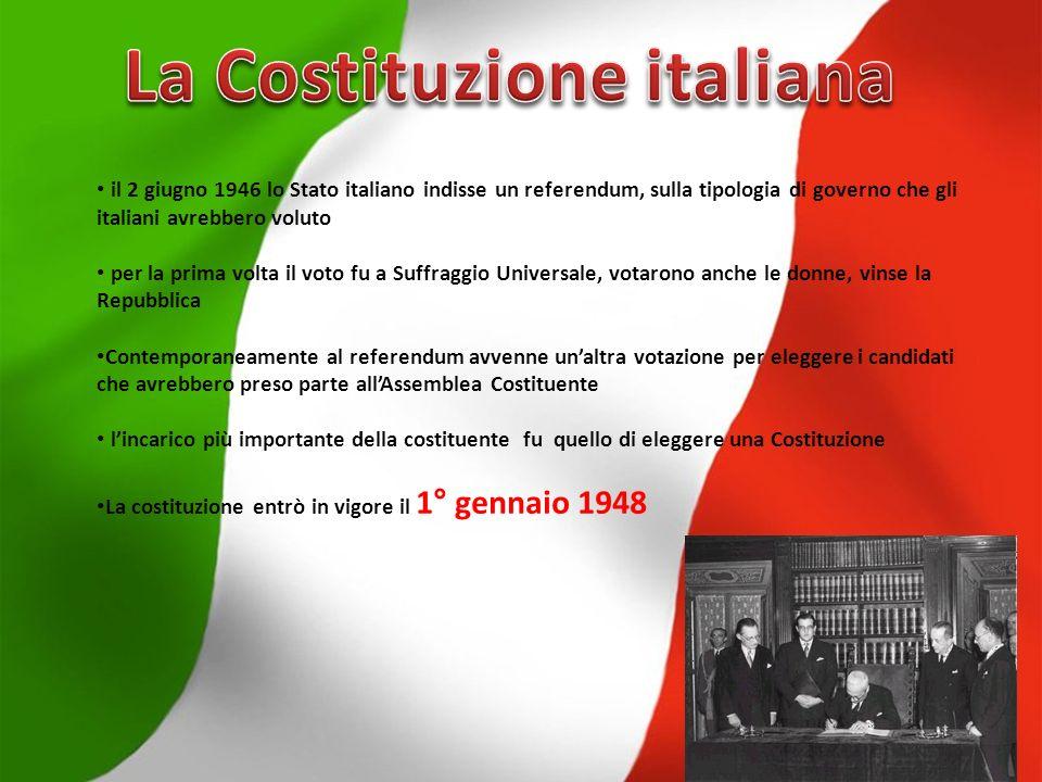 il 2 giugno 1946 lo Stato italiano indisse un referendum, sulla tipologia di governo che gli italiani avrebbero voluto per la prima volta il voto fu a Suffraggio Universale, votarono anche le donne, vinse la Repubblica Contemporaneamente al referendum avvenne unaltra votazione per eleggere i candidati che avrebbero preso parte allAssemblea Costituente lincarico più importante della costituente fu quello di eleggere una Costituzione La costituzione entrò in vigore il 1° gennaio 1948